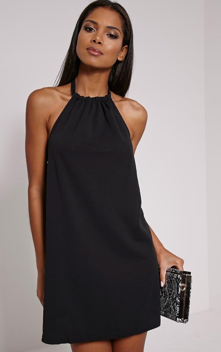 Eshe Black Halterneck Swing Dress 1