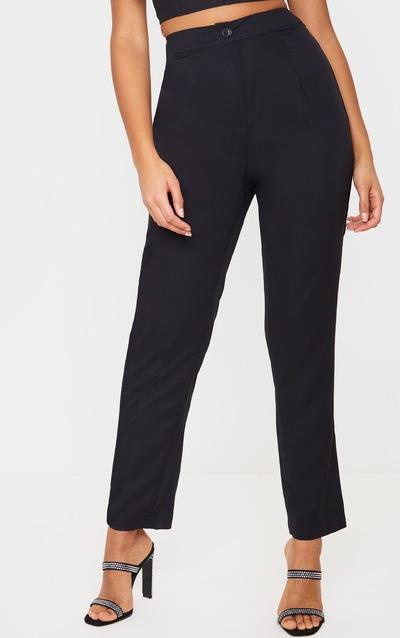 Black Woven Straight Leg Trouser