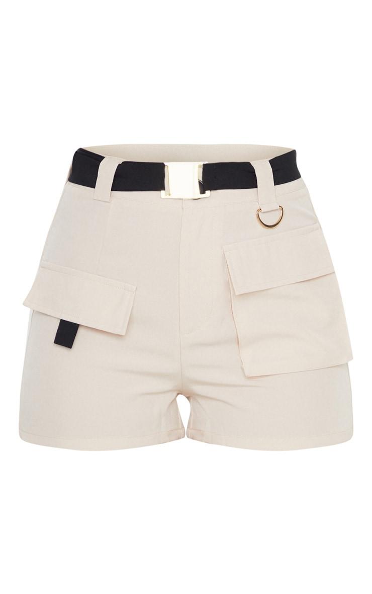 Stone Belted Waist Cargo Pocket Front Shorts 4
