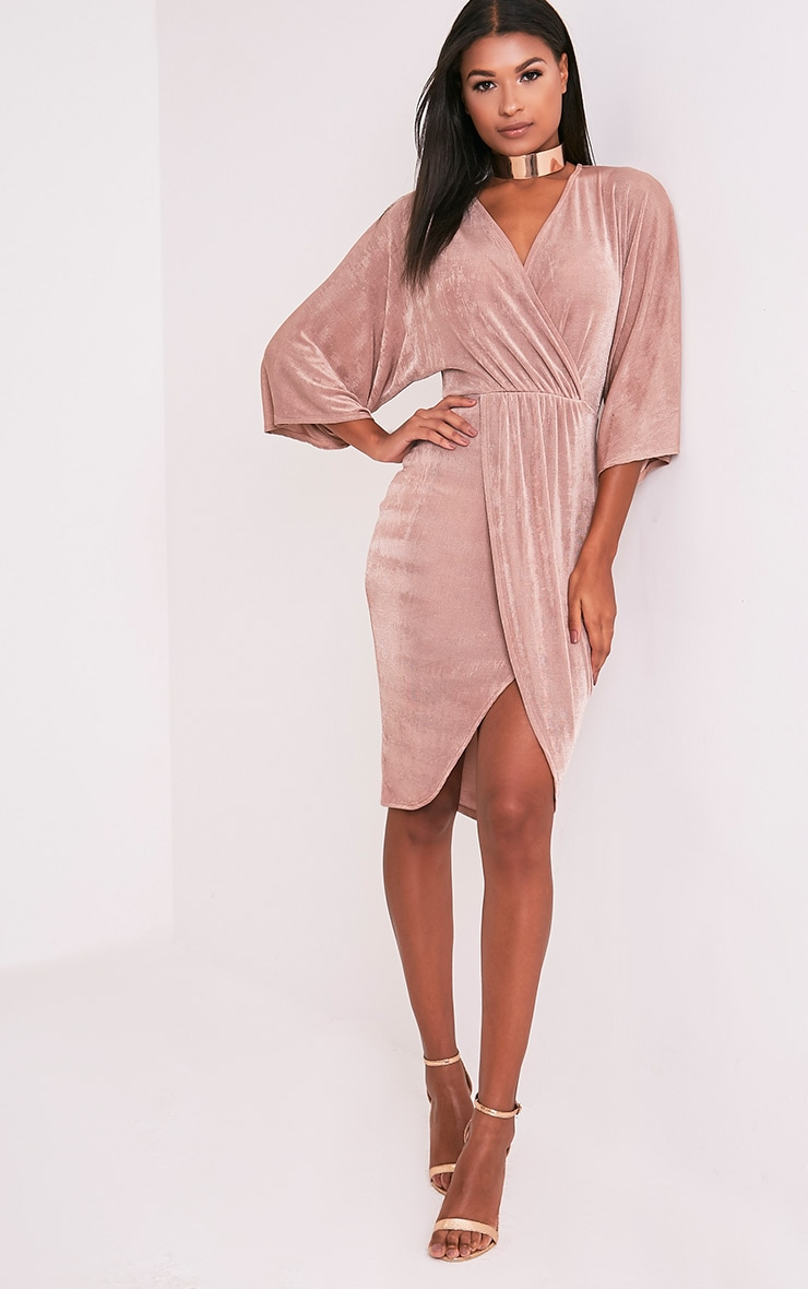 Meliana Dusty Pink Slinky Kimono Sleeve Midi Dress 1