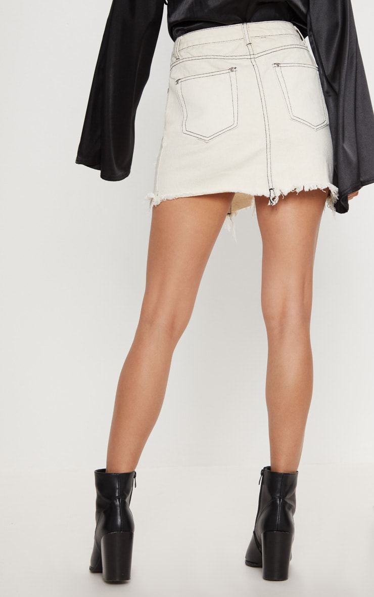 Ecru Contrast Stitch Distressed Denim Mini Skirt 4