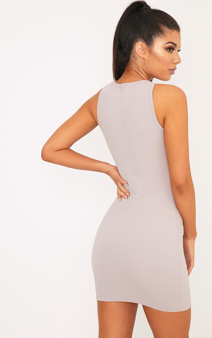 Ivankah Dove Grey Racer Neck Bodycon Dress  2