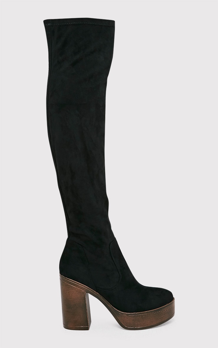 Denney Black Faux Suede Platform Over The Knee Boots 1