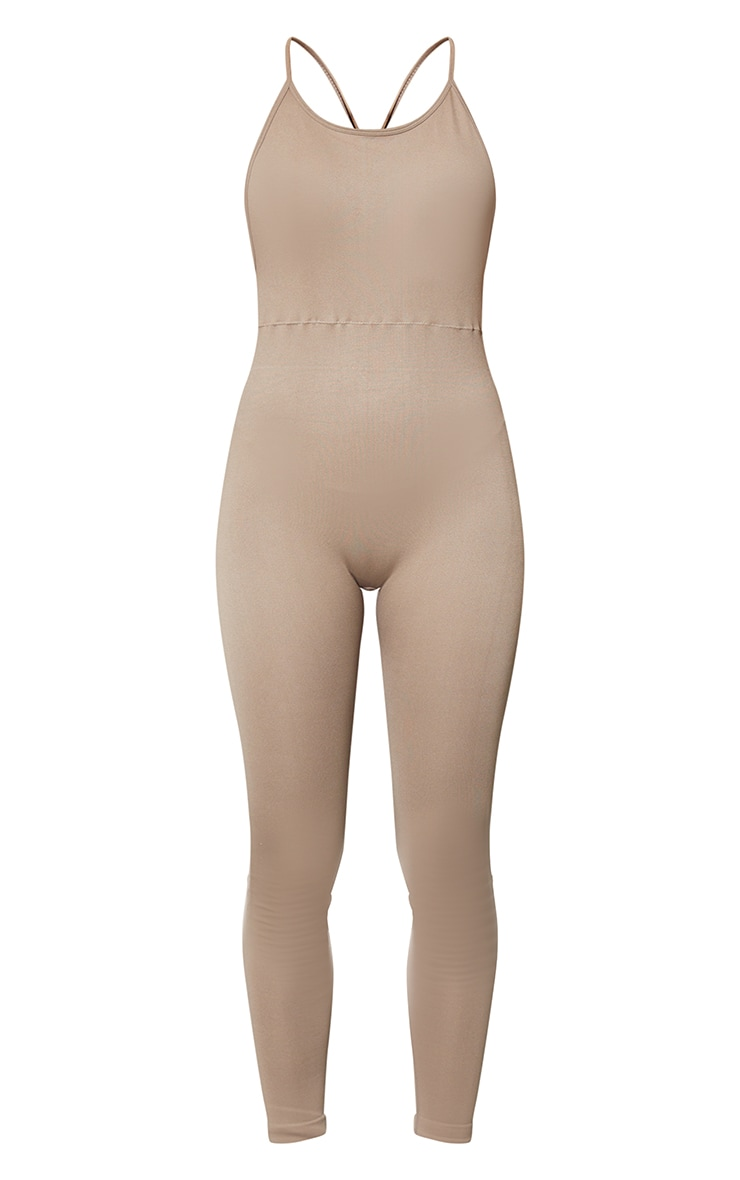 Taupe High Neck Strappy Back Seamless Unitard 5