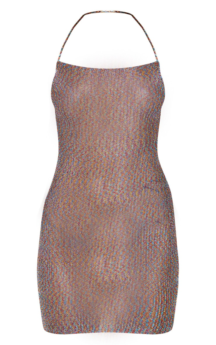 Charlay Multi Metallic Knit Halterneck Mini Dress 3