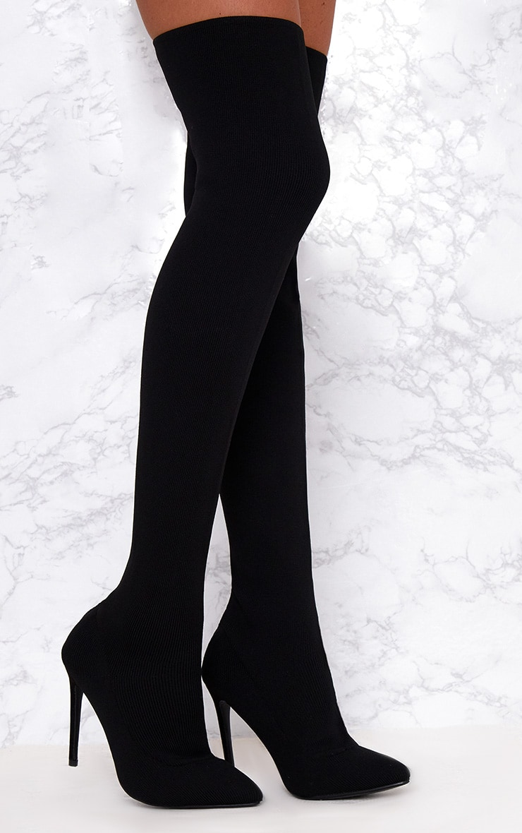 137d7aa781e Black Knitted Pointy Thigh High Sock Boots. Shoes ...