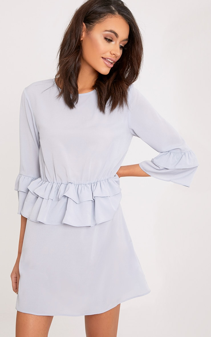 Demi Ice Grey Frill Detail Shift Dress  1