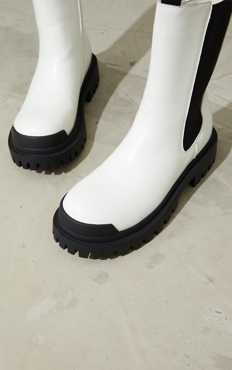 White Rubber Toe Calf High Chelsea Boots 4