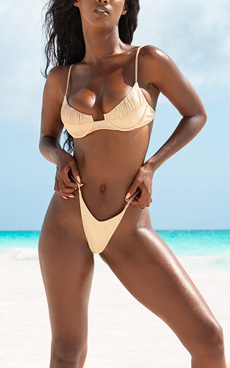Rose Gold High Shine Tanga Bikini Bottoms 1