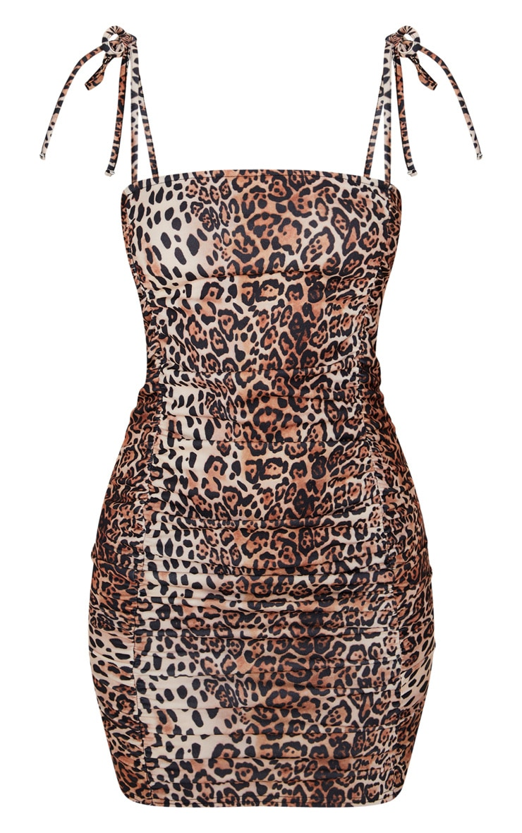 Tan Leopard Print Tie Strap Ruched Bodycon Dress 3