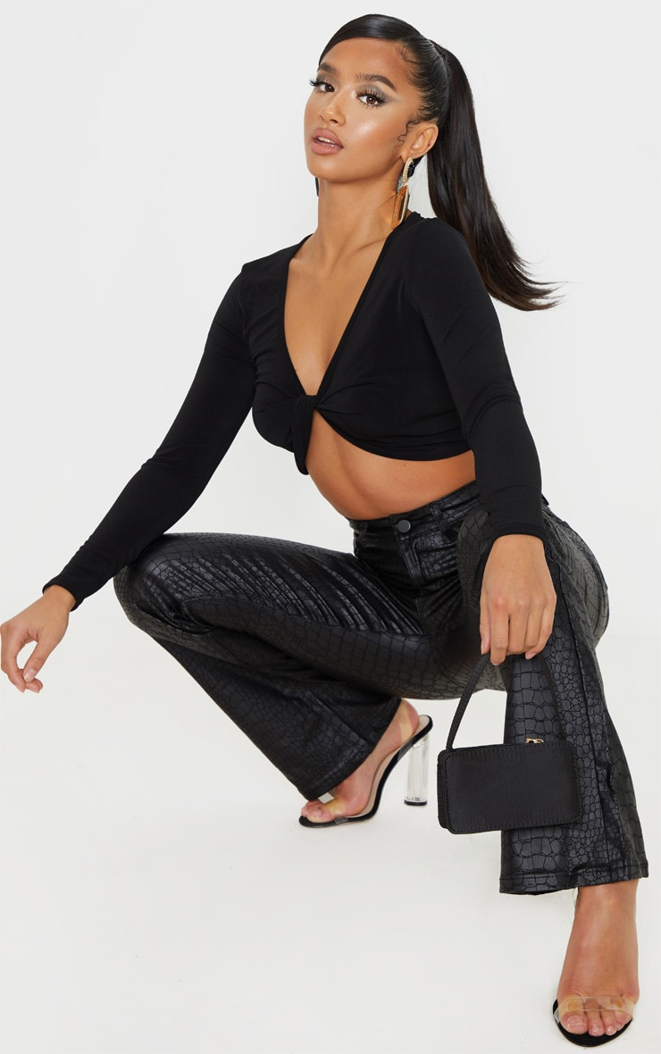 Petite Black Slinky Twist Long Sleeve Crop Top 4