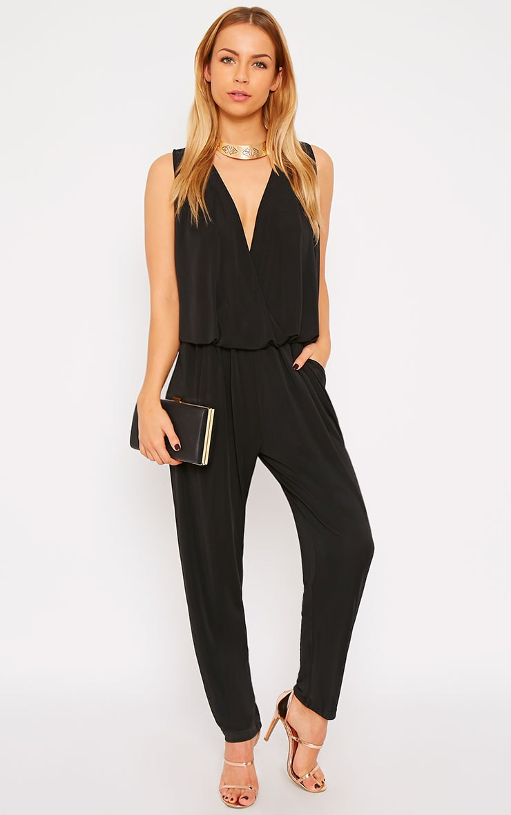 Agneta Black Wrap Front Jumpsuit  1