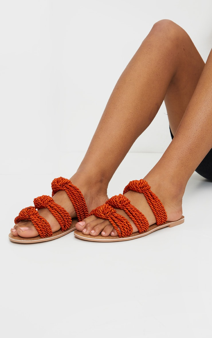 Rust Triple Strap Knot Rope Sandals 1