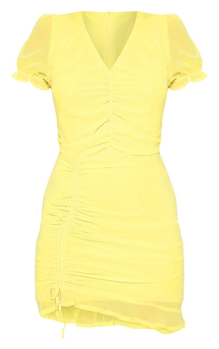 Lemon Ruched Detail Bodycon Dress 3
