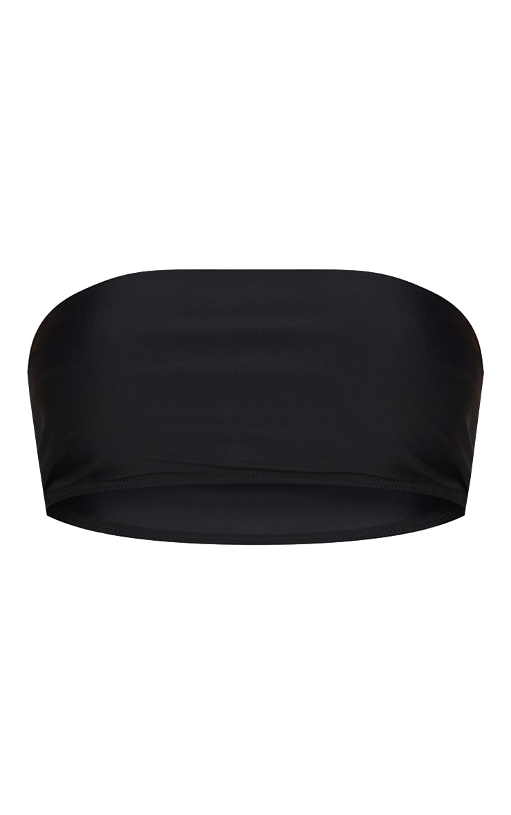 Black Mix & Match Recycled Fabric Bandeau Bikini Top 5