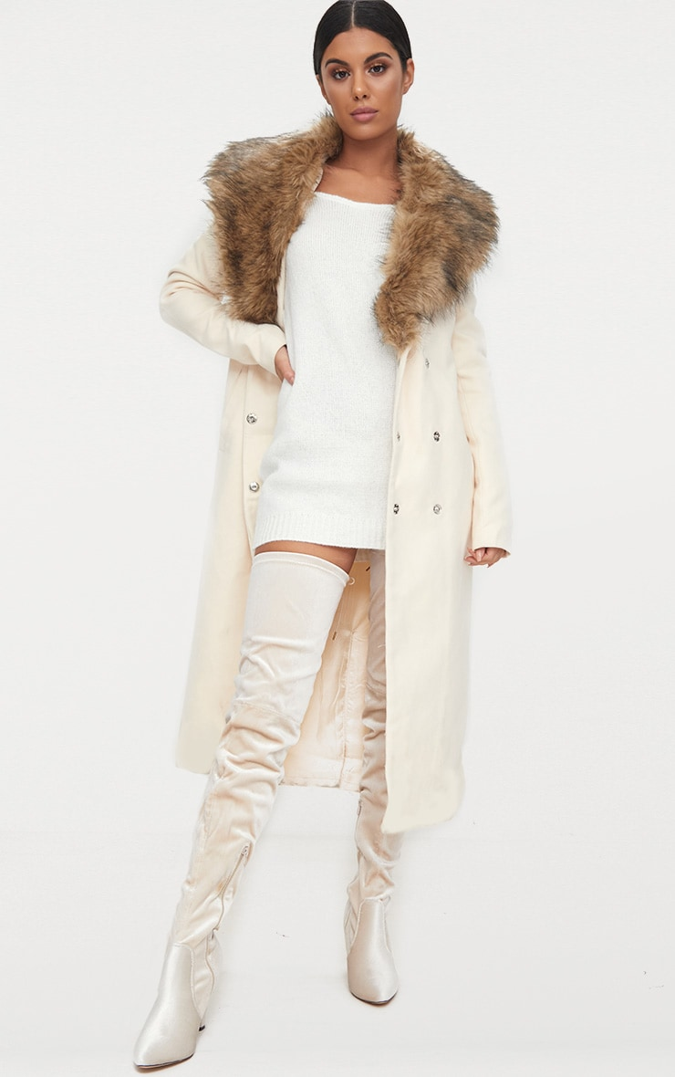 Cream Faux Fur Collar Double Breasted Coat 1