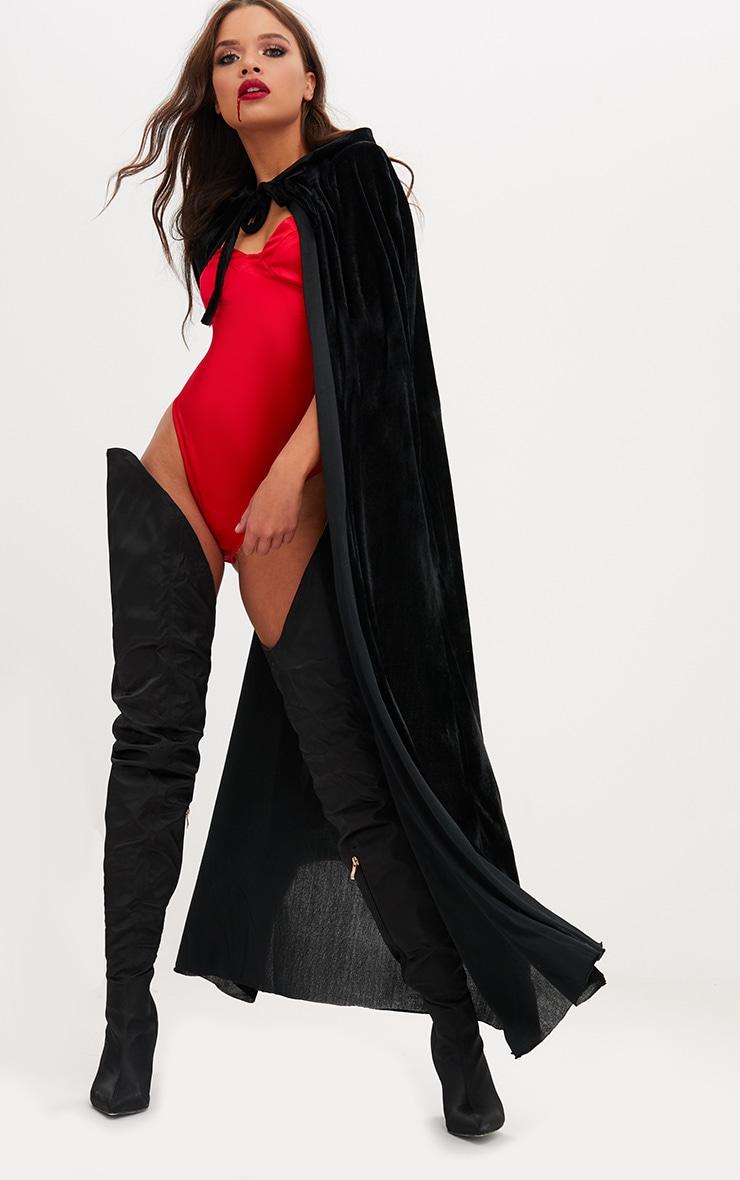 Cape à capuche en velours noir Halloween 1