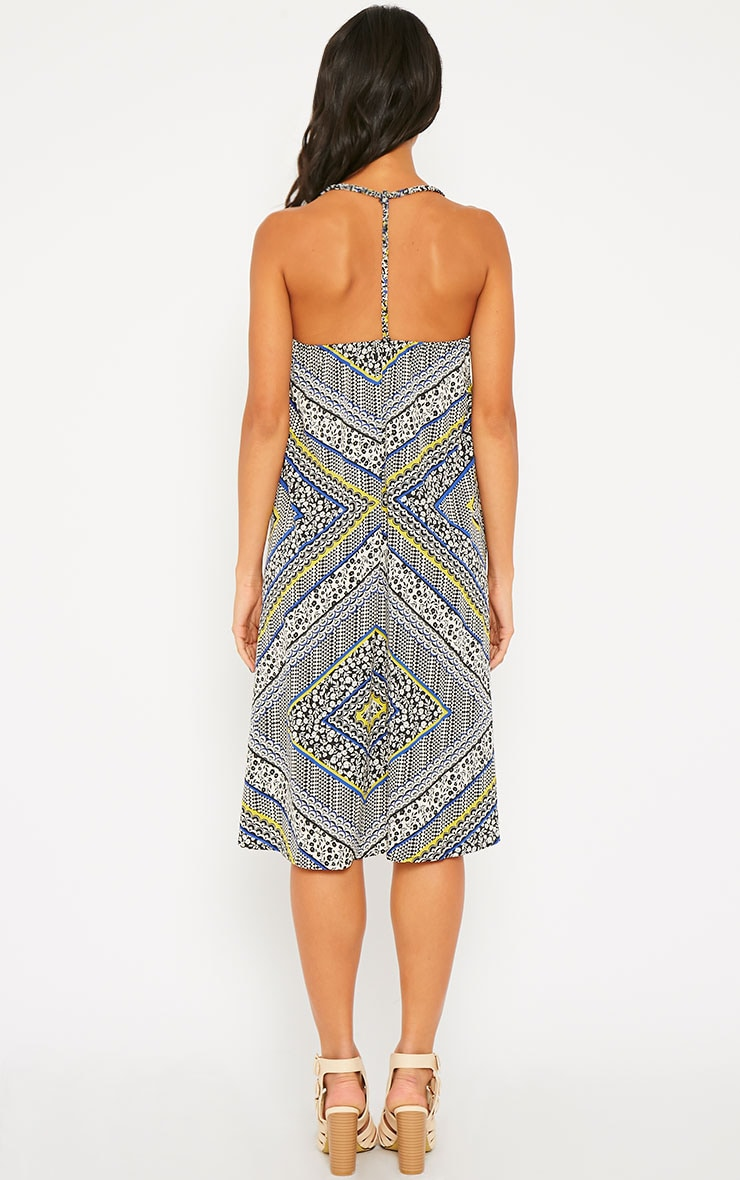 Telina Printed Plaited Strap Swing Dress 2