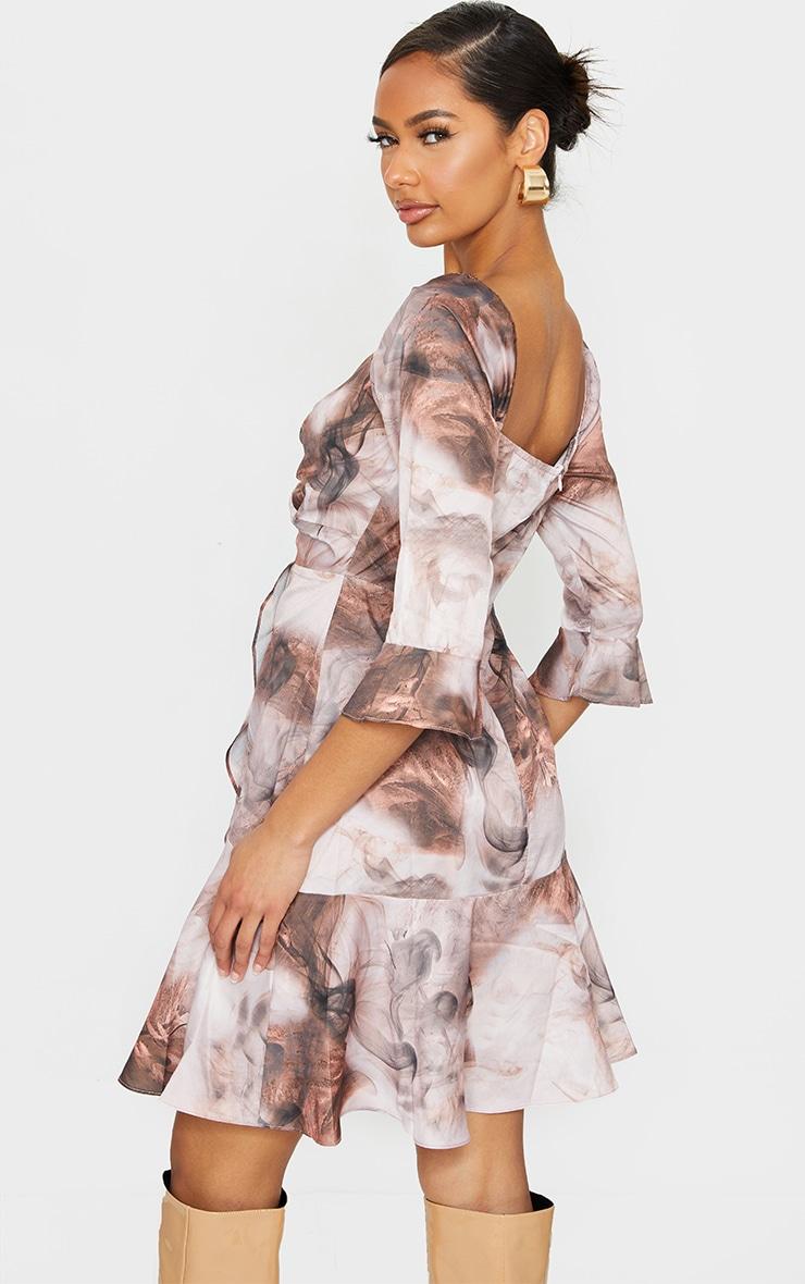 Nude Smoke Print V Neck Ruffle Detail Tea Dress 2