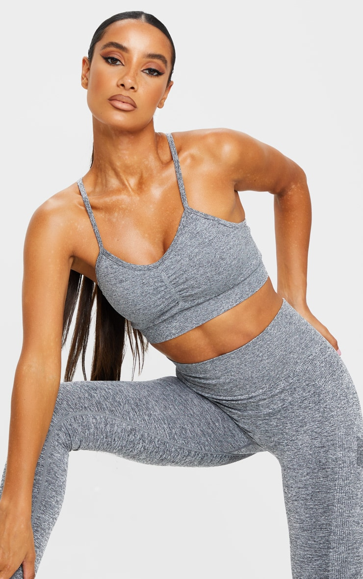 PRETTYLITTLETHING Grey Ruched Front Seamless Sports Bra 1