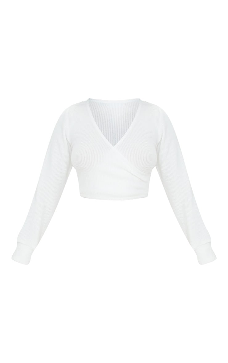 Petite Cream Wrap Over Long Sleeve Brushed Rib Crop Top 5