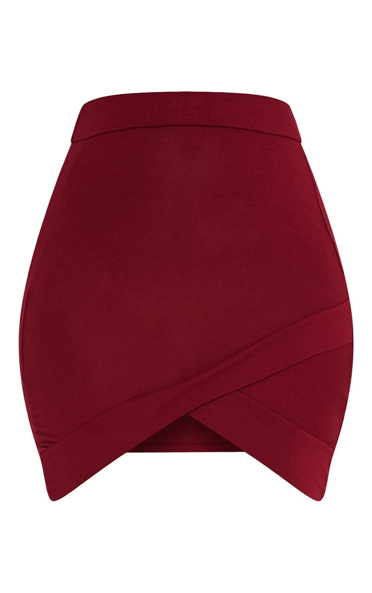 Basic Burgundy Asymmetric Mini Skirt 3