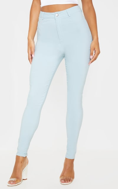 Pale Blue Popper High Waisted Stretch Jegging