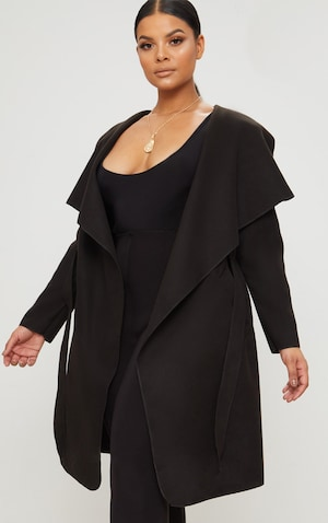 PrettyLittleThing Plus Black Slinky Duster Jacket | Plus
