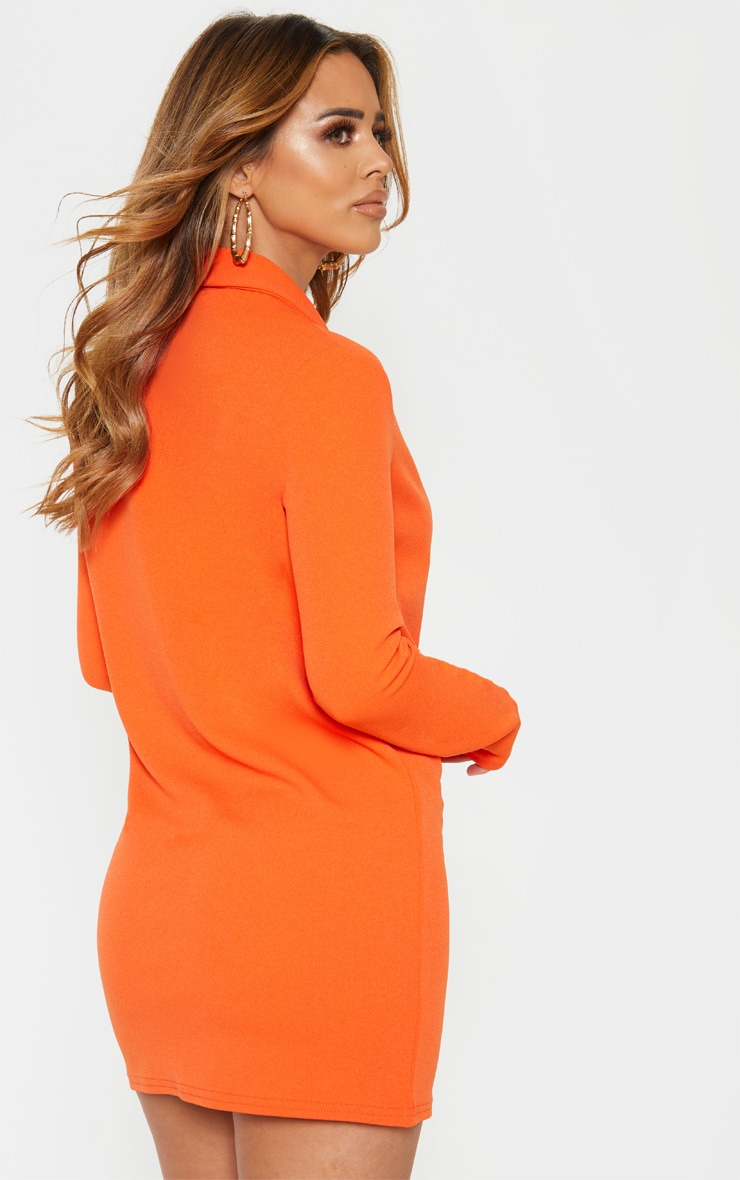Petite Bright Orange Gold Button Blazer Dress 2