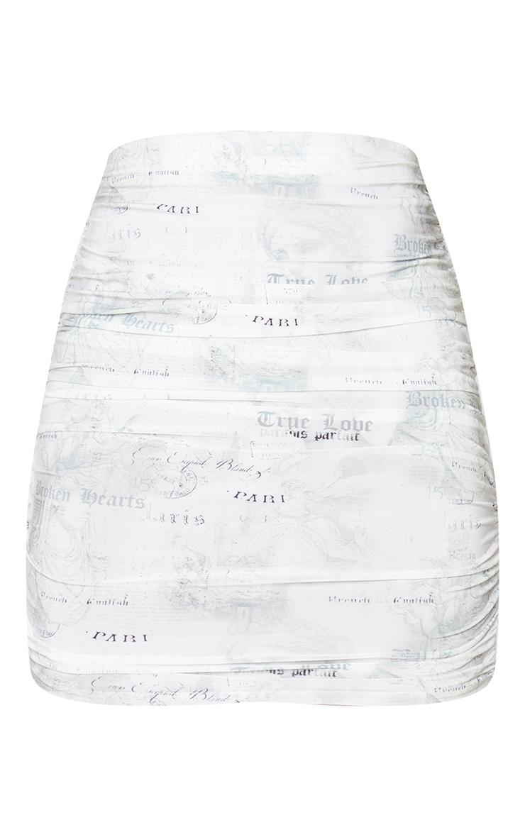 White Renaissance Slinky Ruched Mini Skirt 6