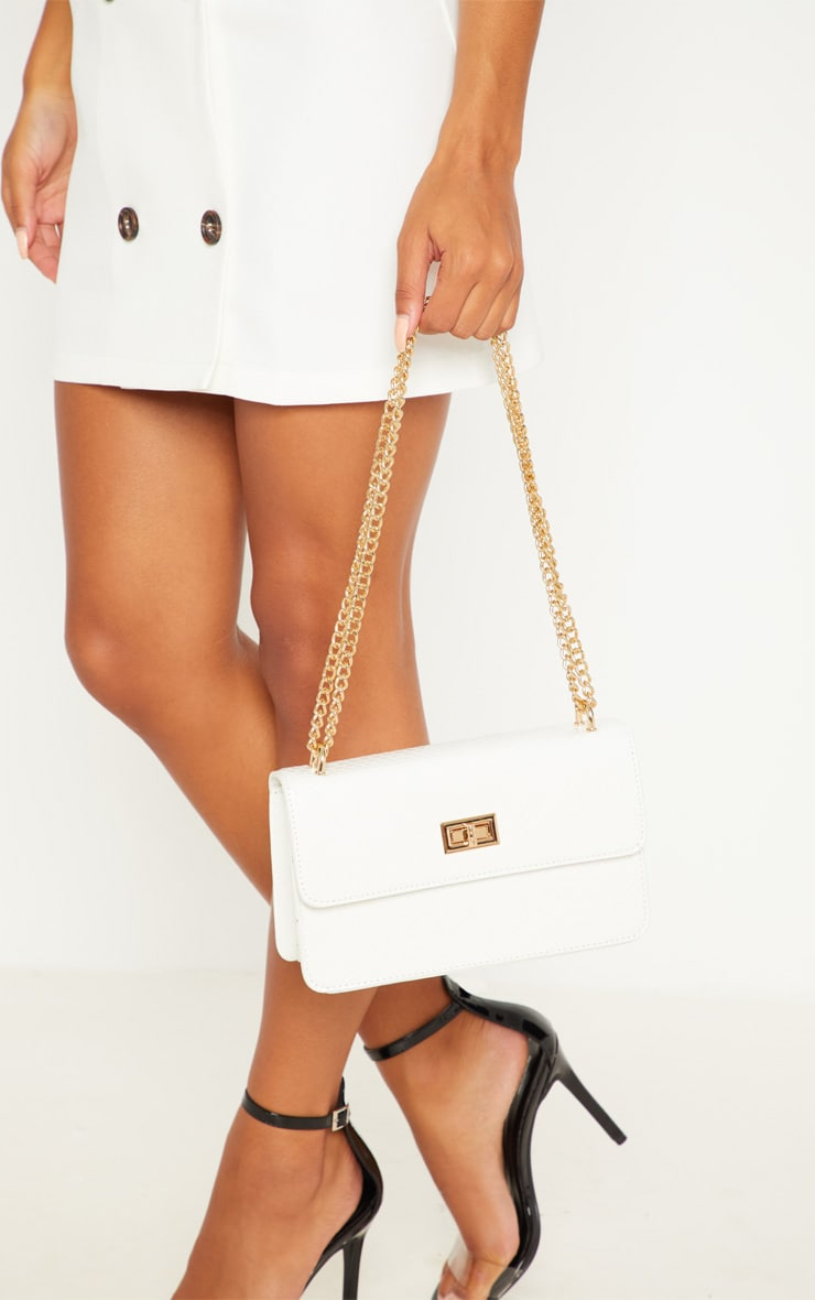 White Croc Chain Cross Body Bag 2