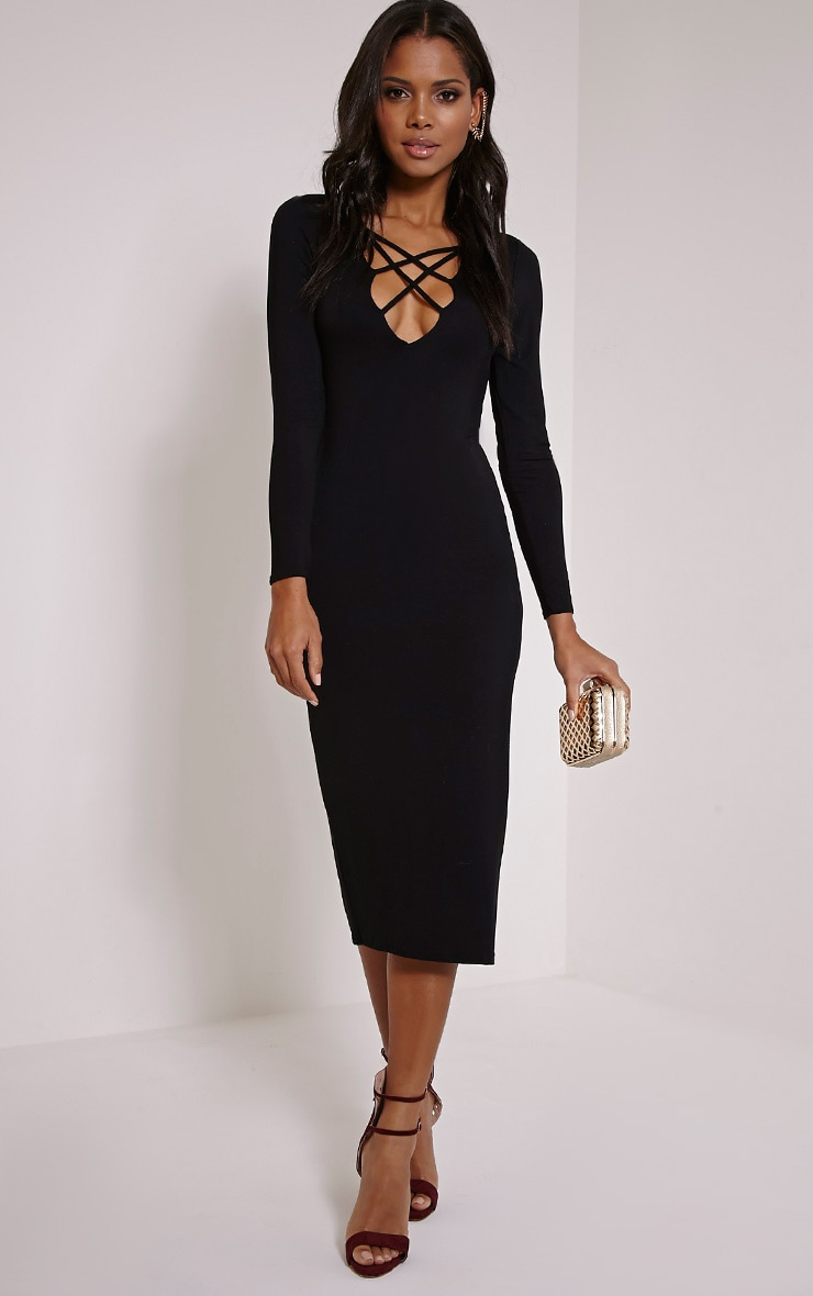 Thelma Black Lattice Front Midaxi Dress 1