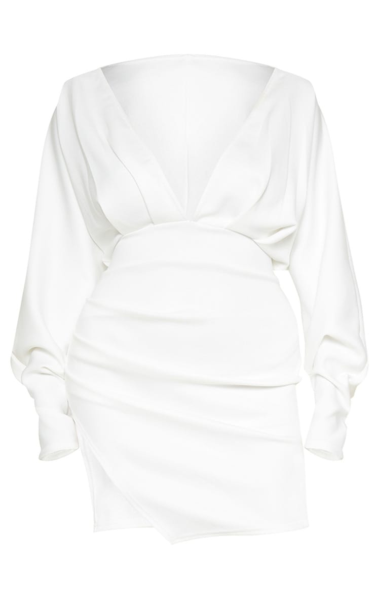 Plus White Pleated Balloon Sleeve Bodycon Dress 3