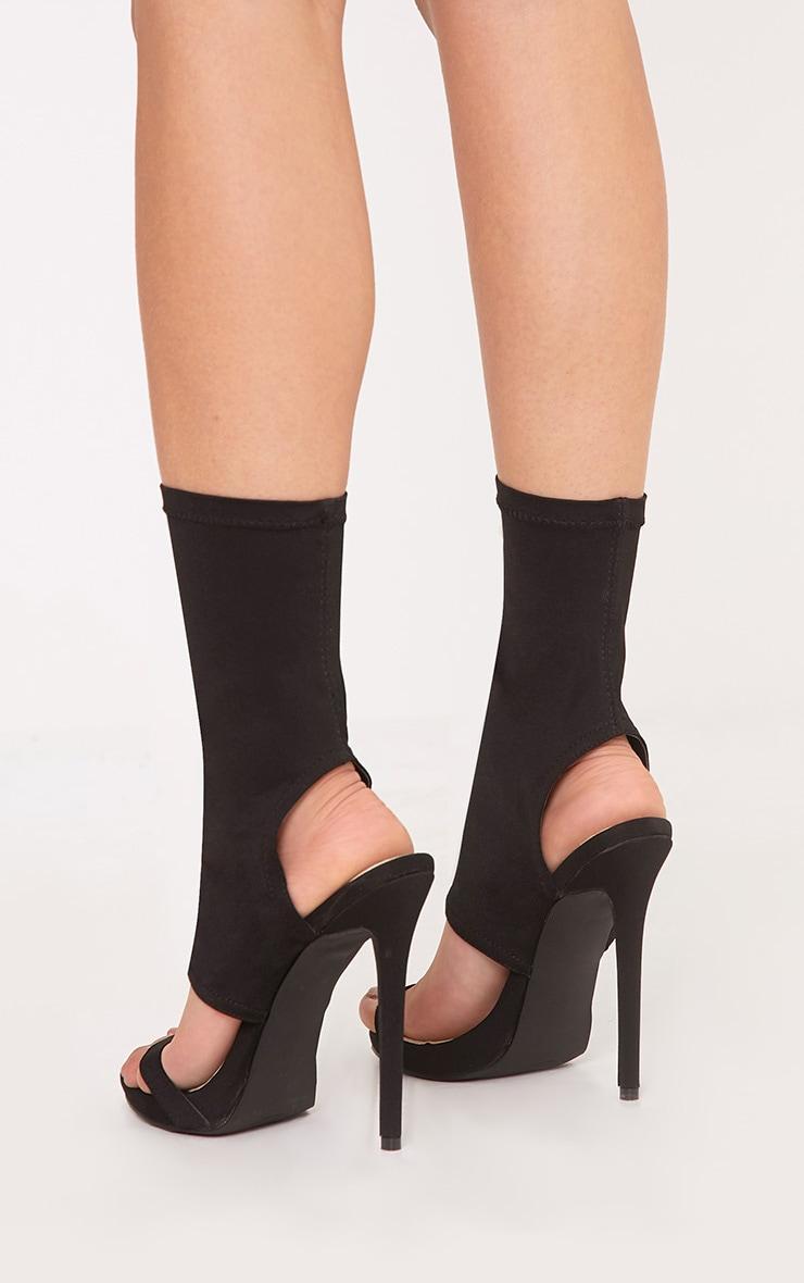 Etta Black Cut Out Sock Heels 4