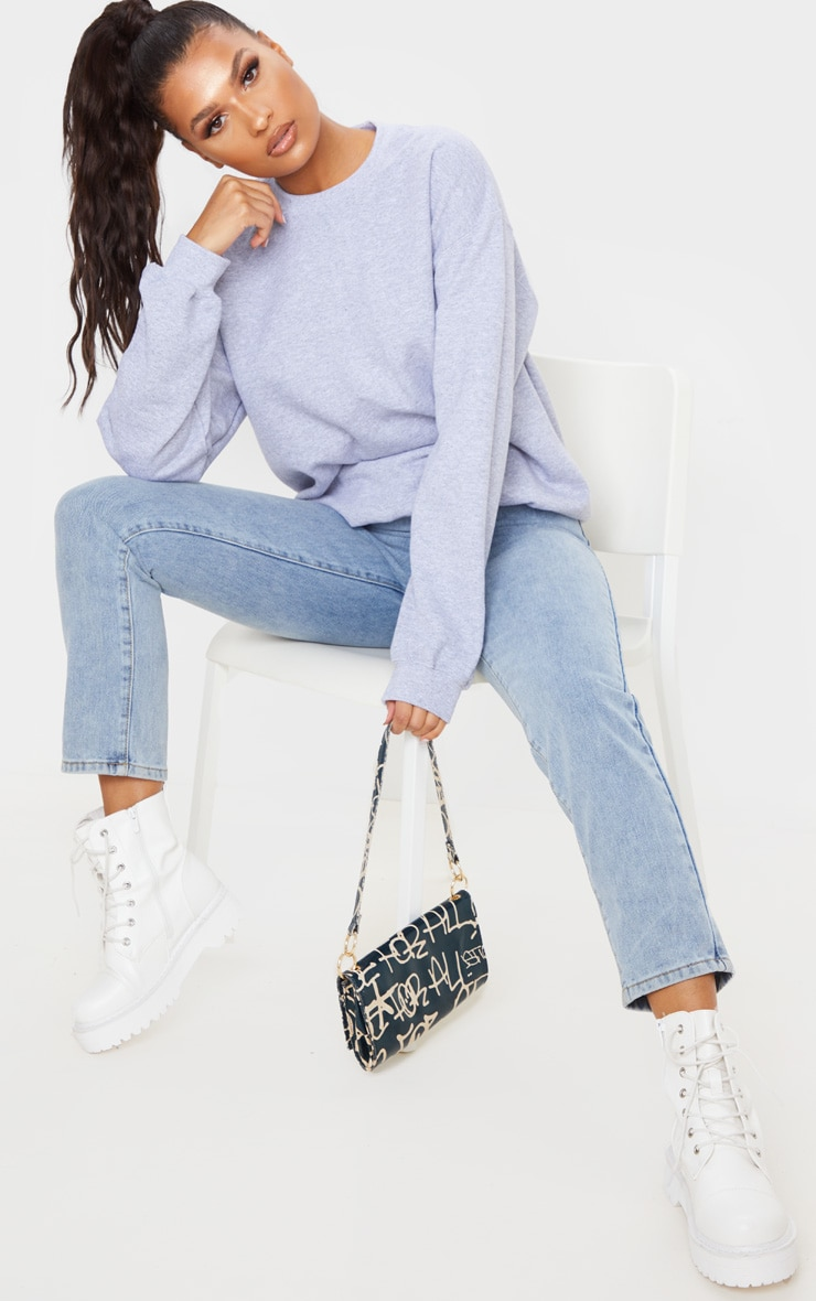 Grey California Slogan Oversized Sweater 4