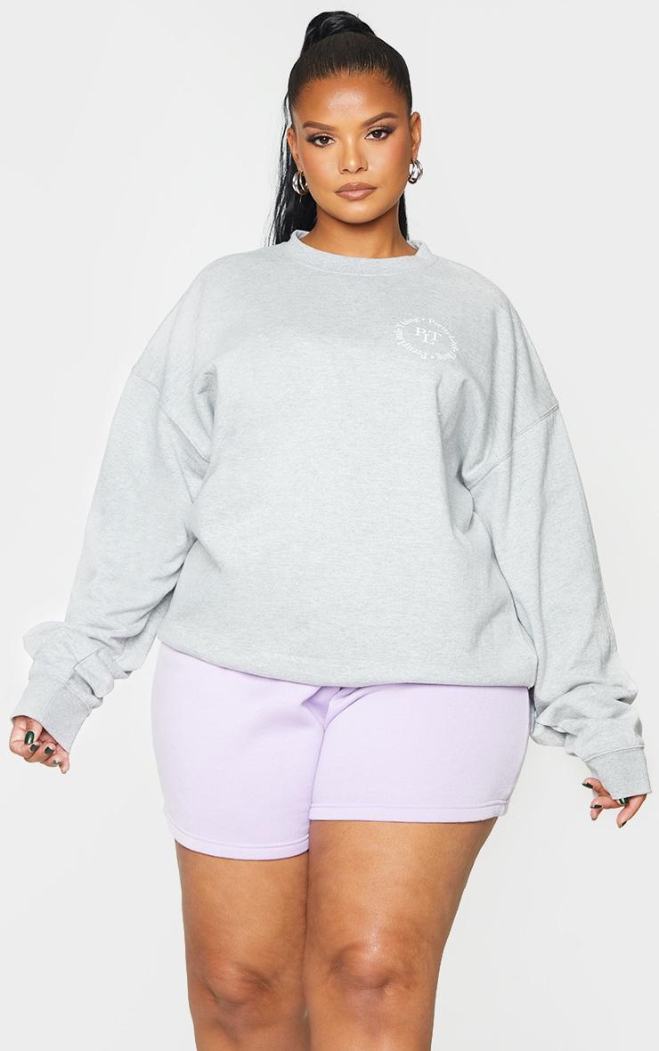 PRETTYLITTLETHING Plus Grey Branded Sweatshirt 1