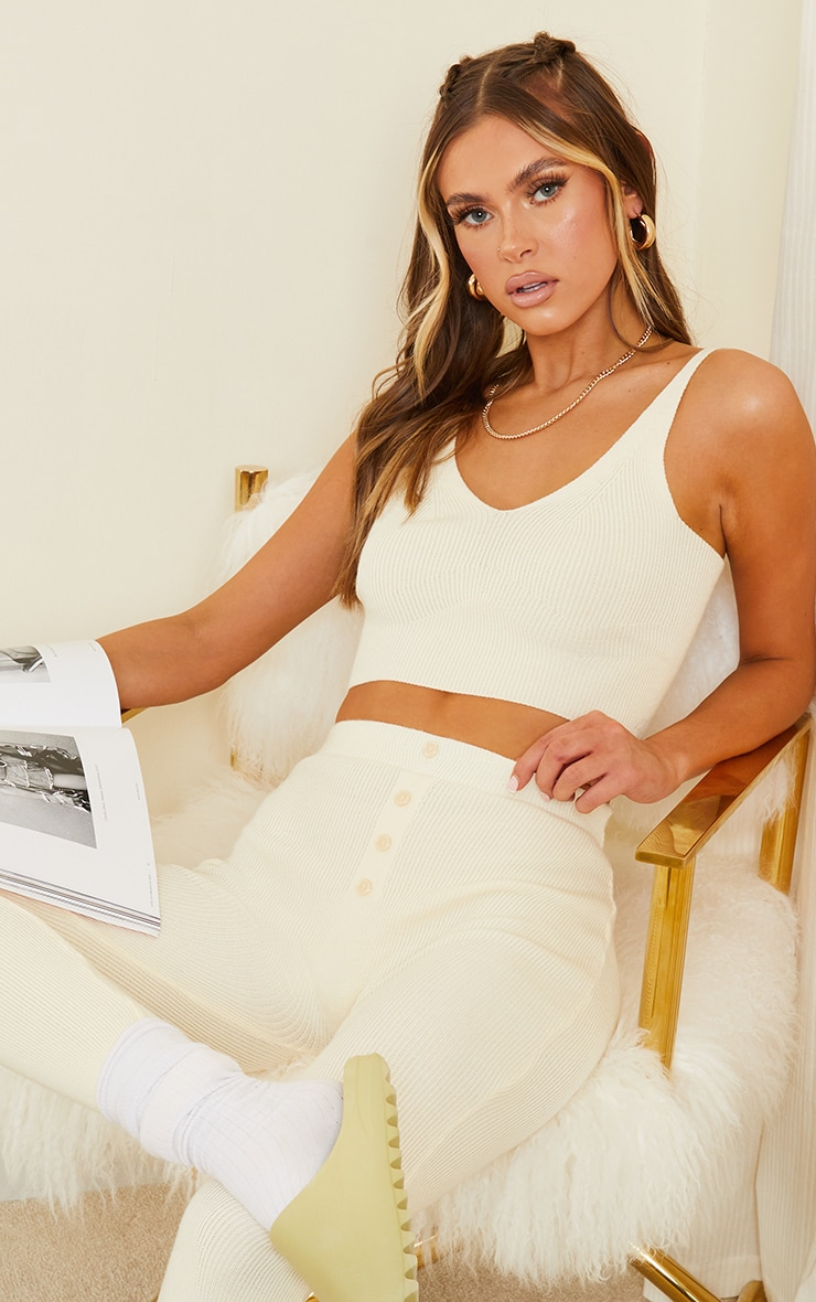 Cream Ribbed Knitted Bralet 1