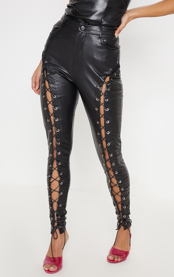 Black Faux Leather Extreme Curve Lace Up Skinny Pants 2