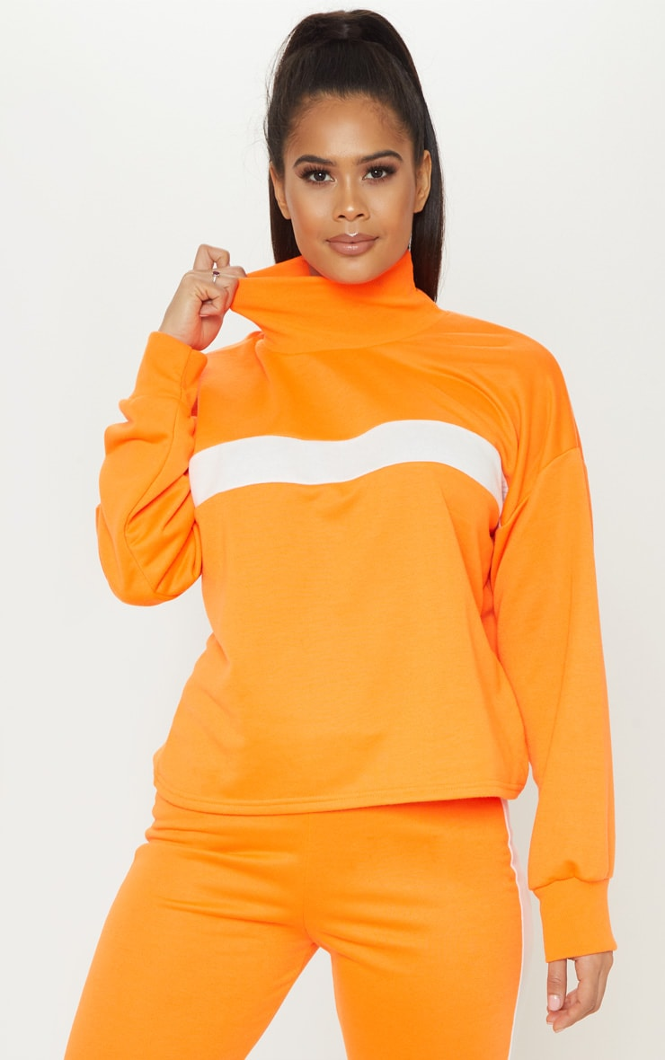 Neon Orange Roll Neck Contrast Stripe Sweat