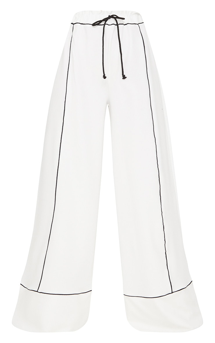 White Contrast Binding Ruched Waist Wide Leg Trouser 3
