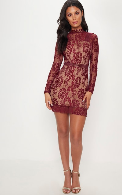 1e607899c1 Burgundy Lace High Neck Open Back Bodycon Dress