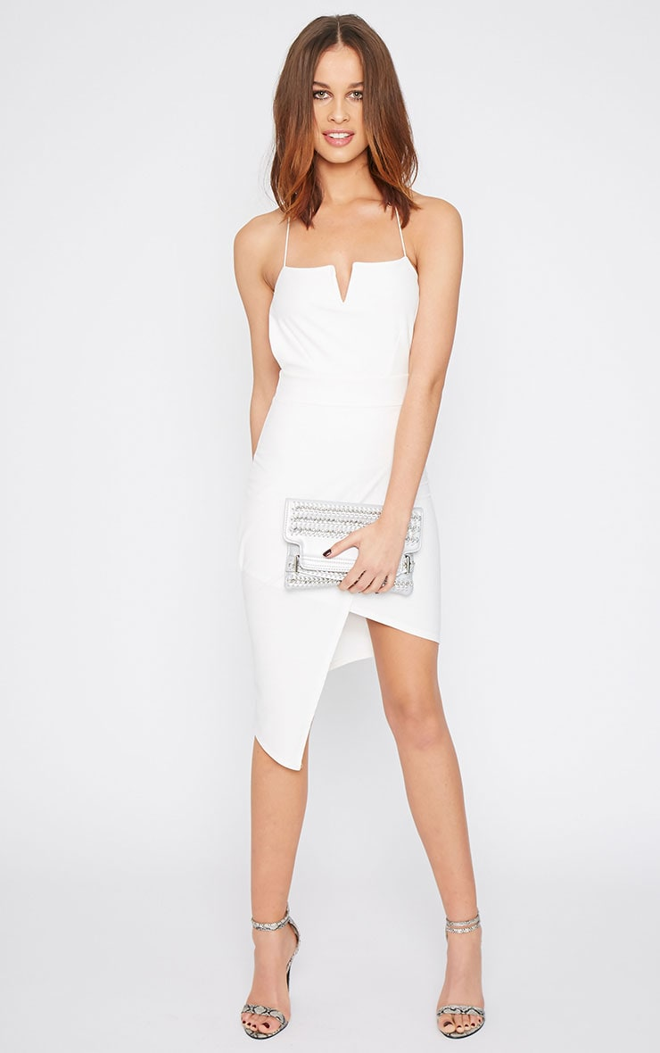 Raye White Cross Back Asymmetric Dress  1