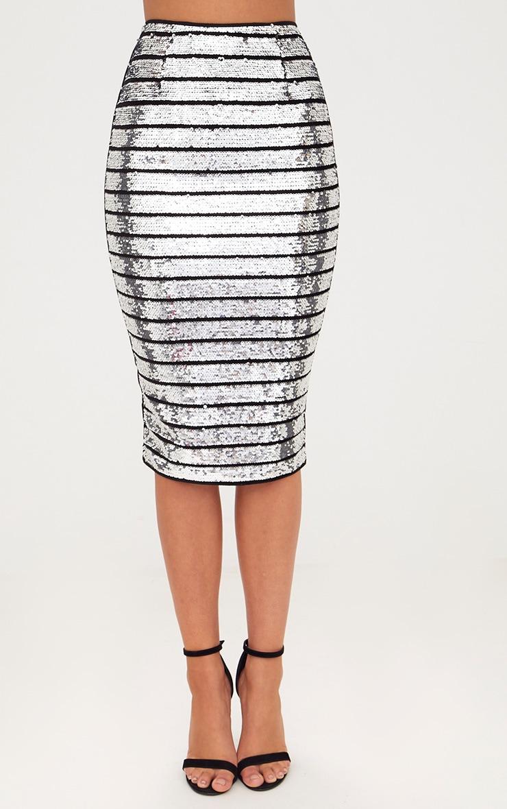 Silver Sequin Midi Skirt 2