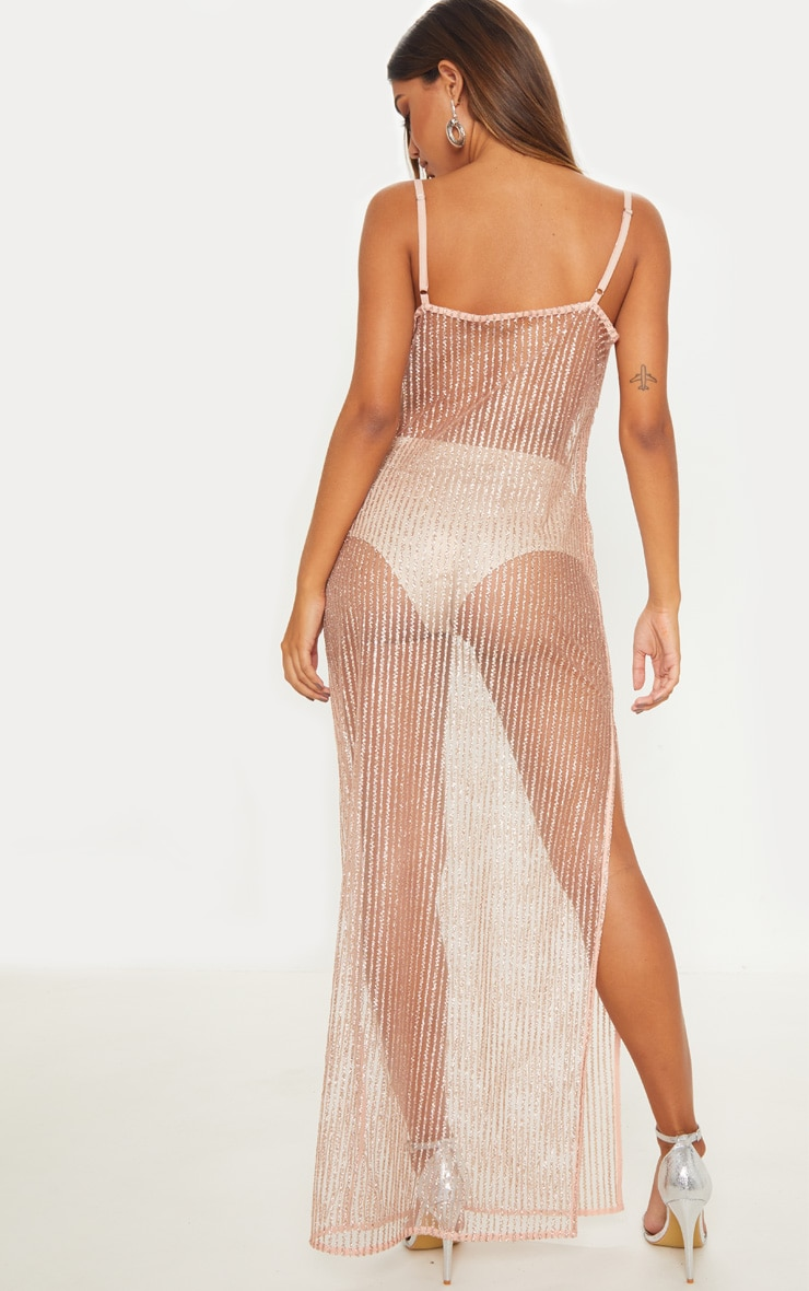 Rose Gold Glitter Sheer Cowl Neck Maxi Dress 2