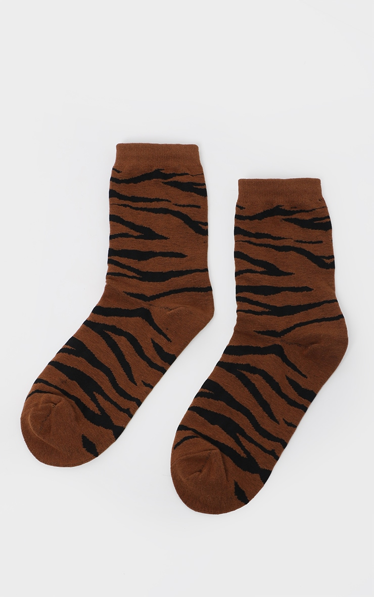 Brown Tiger Print Socks 3