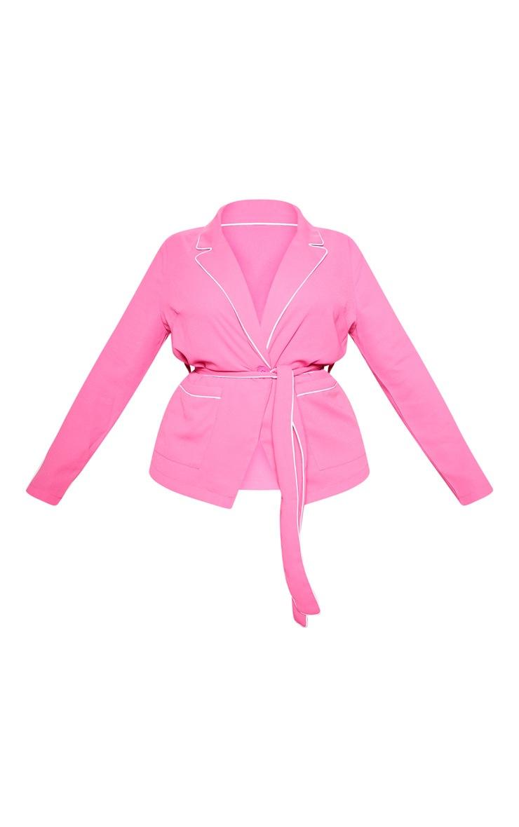 Plus Bright Pink Contrast Detail Blazer 3