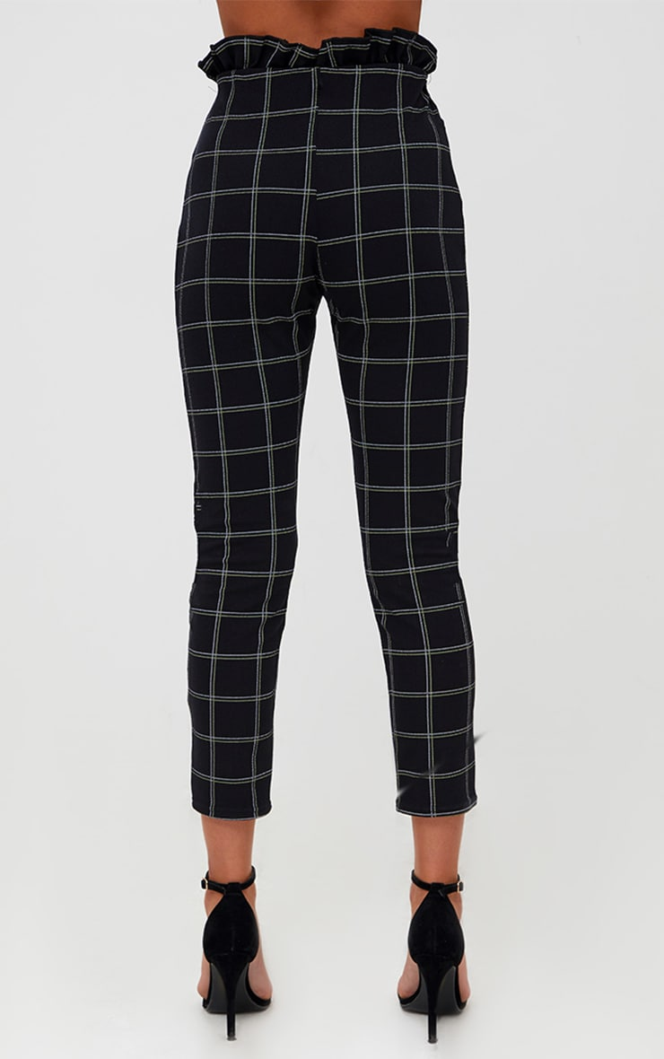 Black Tweed Check Paperbag Skinny Trousers 3