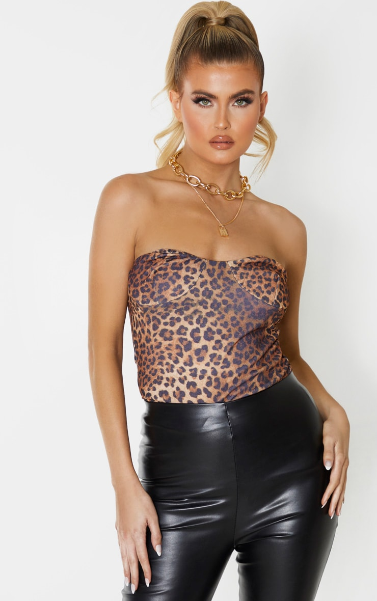 Tall Leopard Crepe Cup Detail Bandeau Top 1