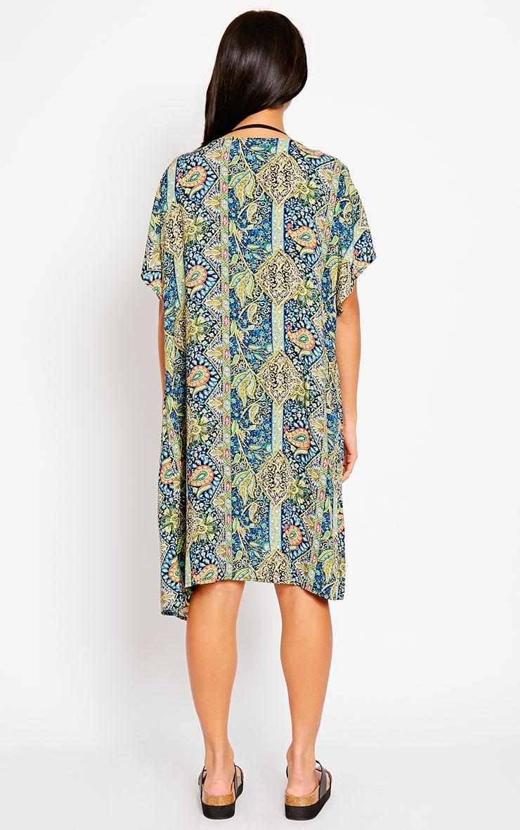 Safire Blue Paisley Short Sleeve Kimono 2