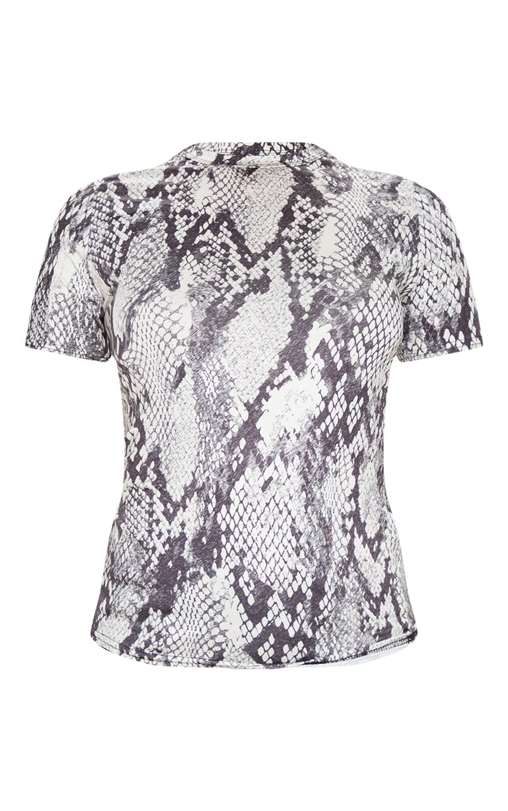 Grey Snake Printed Slinky Fitted T Shirt 3